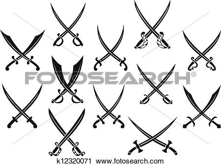 Clipart of Swords and sabres for heraldry k12320071.