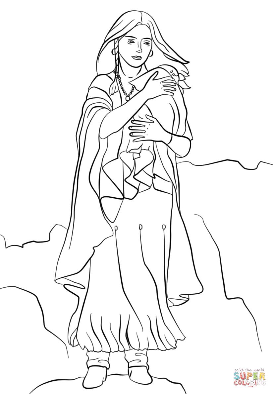 Sacagawea coloring page.