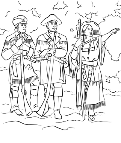 Sacagawea with Lewis and Clark coloring page.