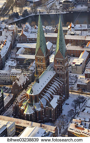 """Stock Photograph of """"Aerial view, St. Mary's Church, in winter."""