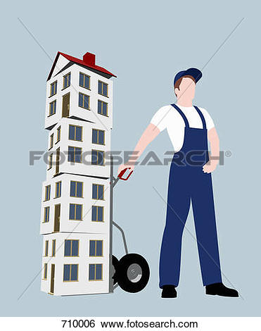 Stock Illustration of A removal man with houses stacked on a sack.