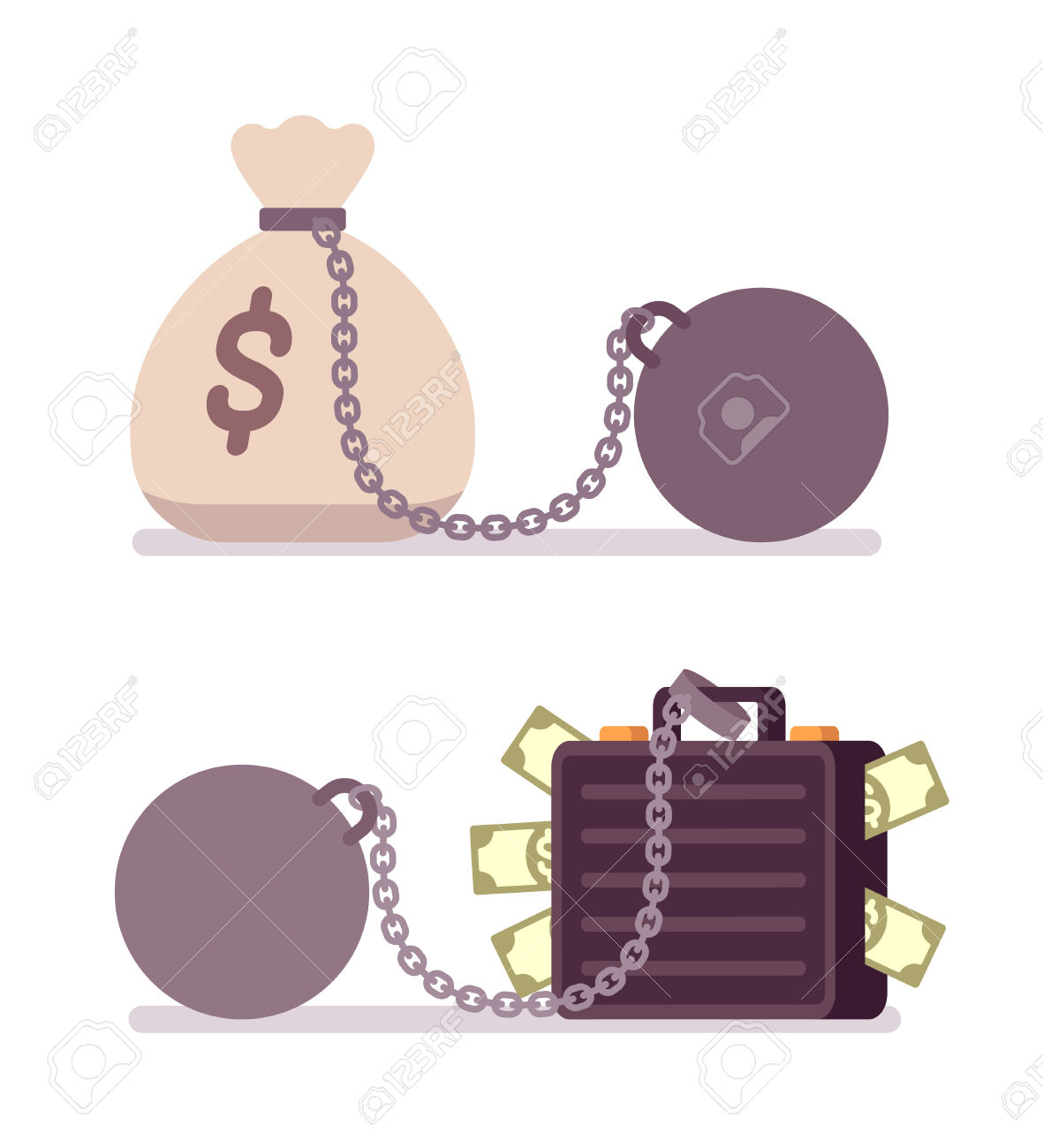 Case Full Of Money And Money Sack On A Metal Chain With Weight.
