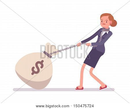 Businesswoman dragging a giant heavy money sack on a chain.
