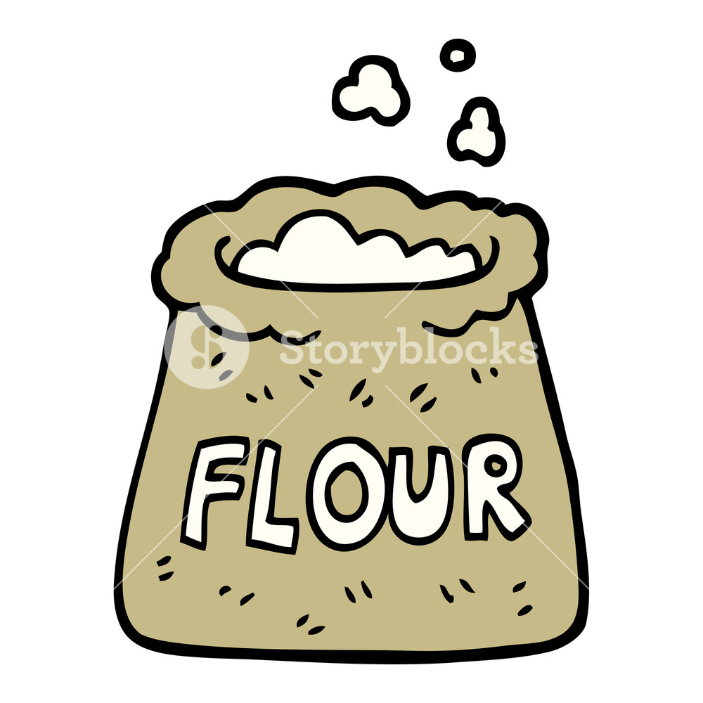 hand drawn doodle style cartoon bag of flour Royalty.