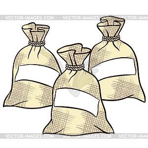 Sacks of flour, sugar and salt.