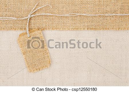 Pictures of Sackcloth tag pricing over burlap texture csp12550180.