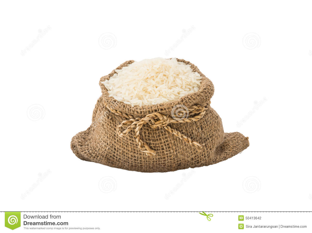 Rice In Sackcloth Bag Isolated Stock Photo.
