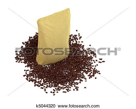 Stock Illustrations of Top view of Sacking Package on coffee beans.