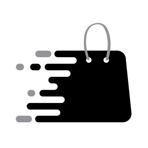 Abstrack Black logo shopping bag icon with plack for your.