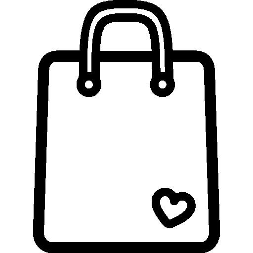 Sacola de compras ferramenta contorno com um coração pequeno.
