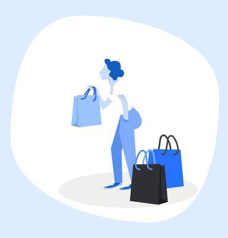Mulher segurando sacolas de compras.