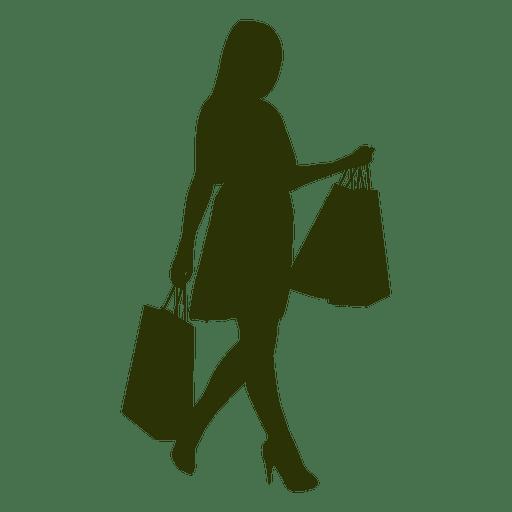Menina siljouette carregando sacolas de compras.
