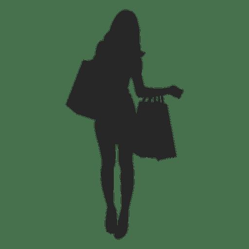 Feminino carregando sacolas de compras.