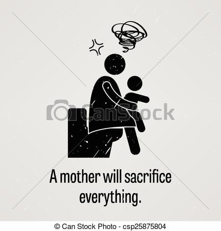 Vector Clipart of A mother will sacrifice everything.
