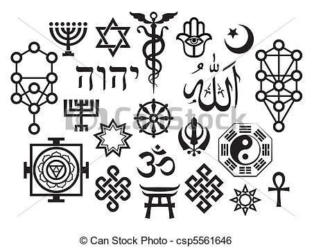 Clip Art Vector of Oriental Sacral Religious Symbols (with.