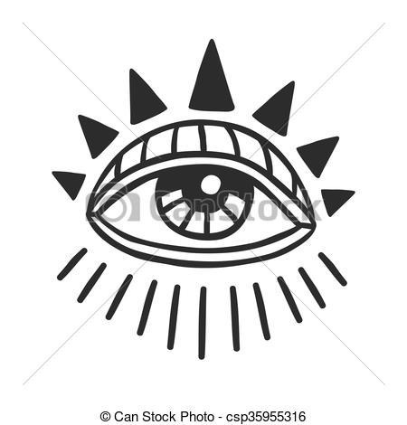 Vector Clip Art of Hand Drawn sacral eye.