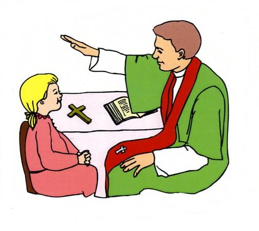 Clipart Picture Of Girl Praying And Sacrament Of Reconciliation.