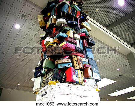 Stock Photo of SAMSON Luggage scuplture in the baggage claim area.