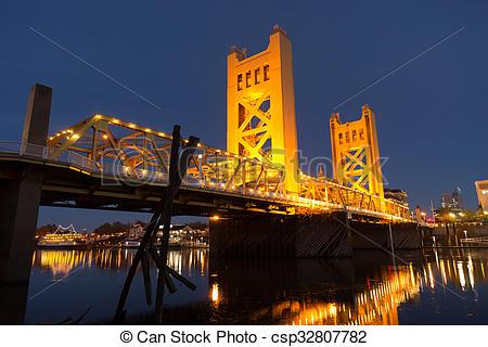 Pictures of Tower Bridge Sacramento River Capital City California.