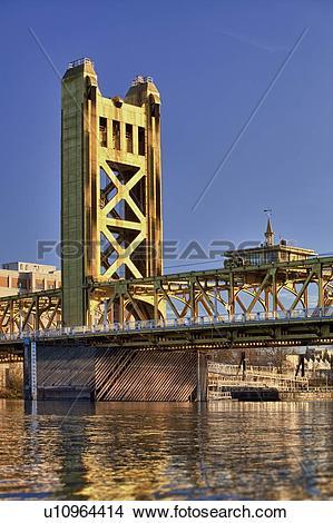 Stock Photo of USA, California, Sacramento, tower bridge over.