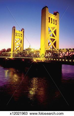 Stock Photo of The Sacramento River Bridge reflected in the river.