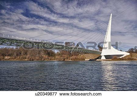 Picture of USA, California, Redding, turtle bay, sundial bridge.