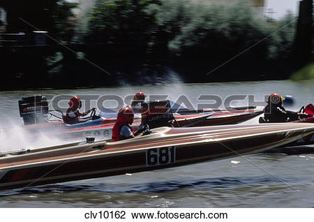 Stock Photo of HYDROPLANE BOAT RACING on the SACRAMENTO RIVER.