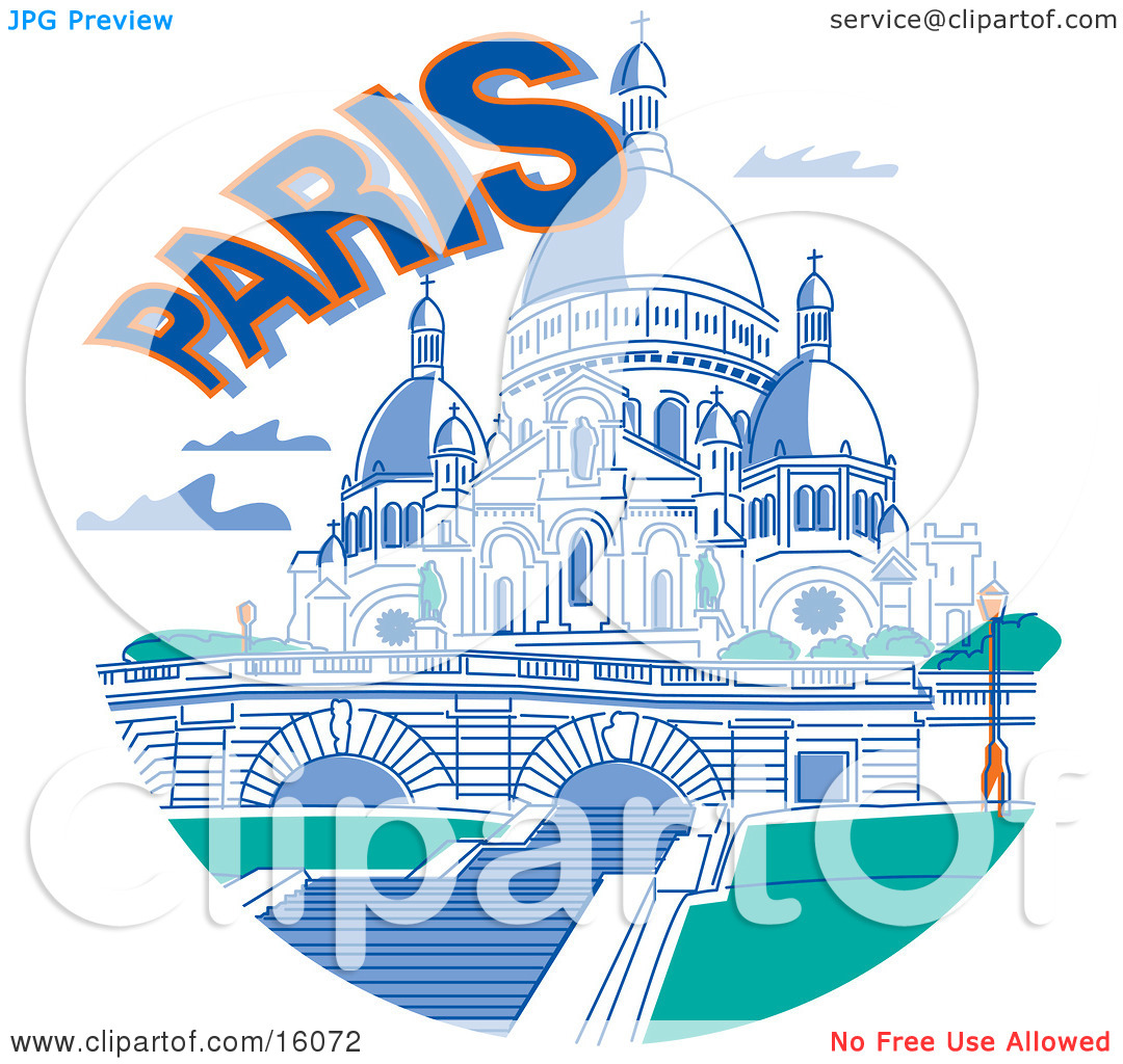 the Basilica of the Sacred Heart in Paris France Clipart.