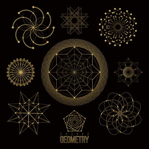 Sacred geometry forms, shapes of lines, logo, sign.