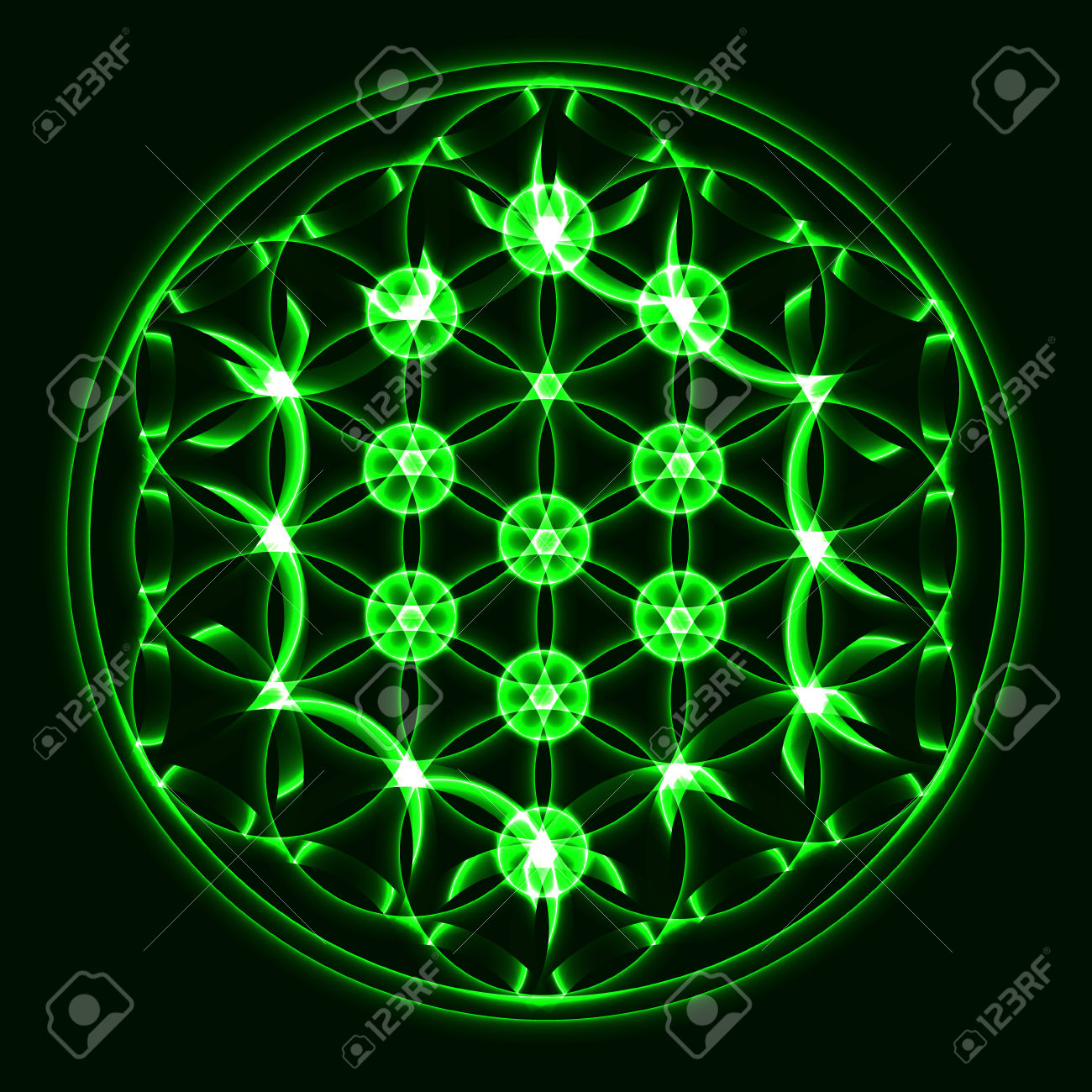 Vector Tree Of Life, Sacred Geometry Symbol Royalty Free Cliparts.