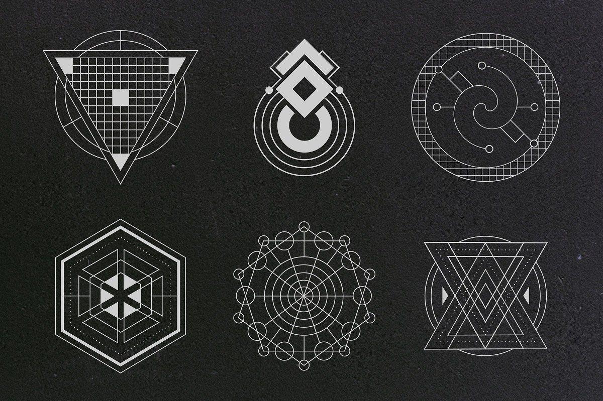 24 Sacred Geometry Vectors by Tugcu Design Co. on.