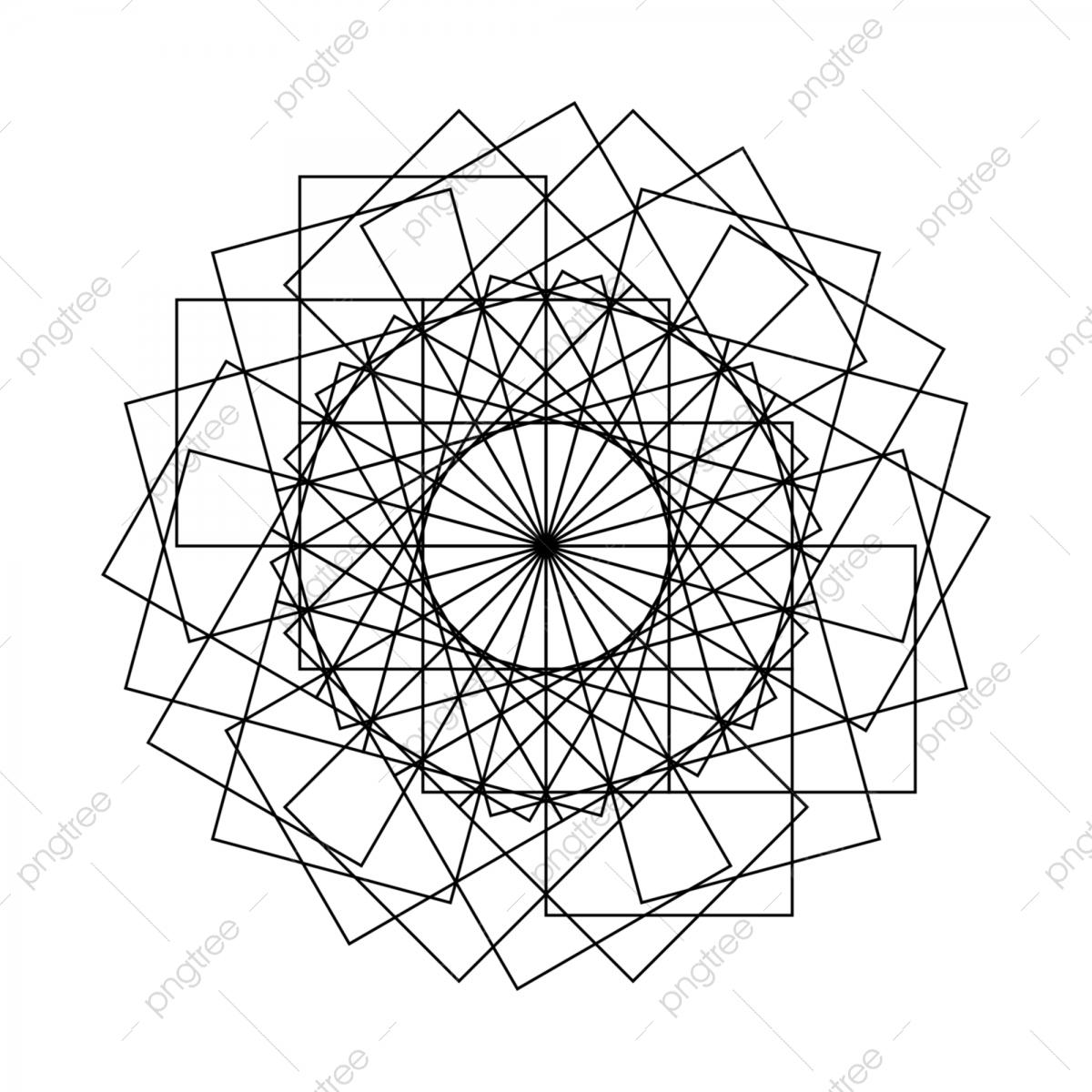Mandala Sacred Ancient Geometry Vector Illustration In Black.