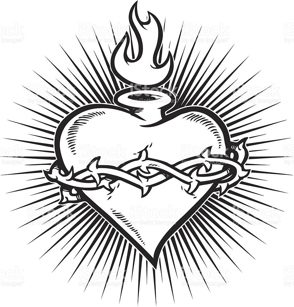 A flaming sacred heart with a burst in the background.