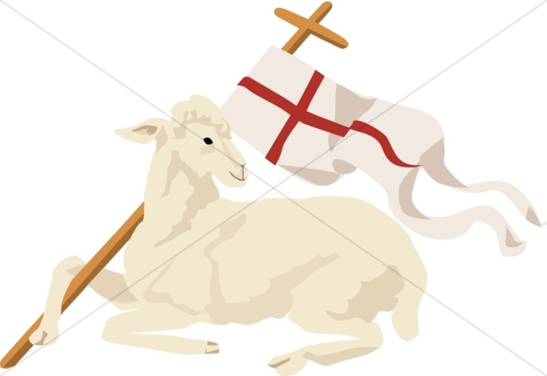White Lamb with Christian Banner.