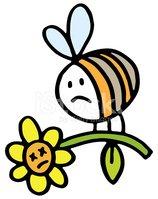 Sad Bee Carrying A Dead Flower stock vectors.