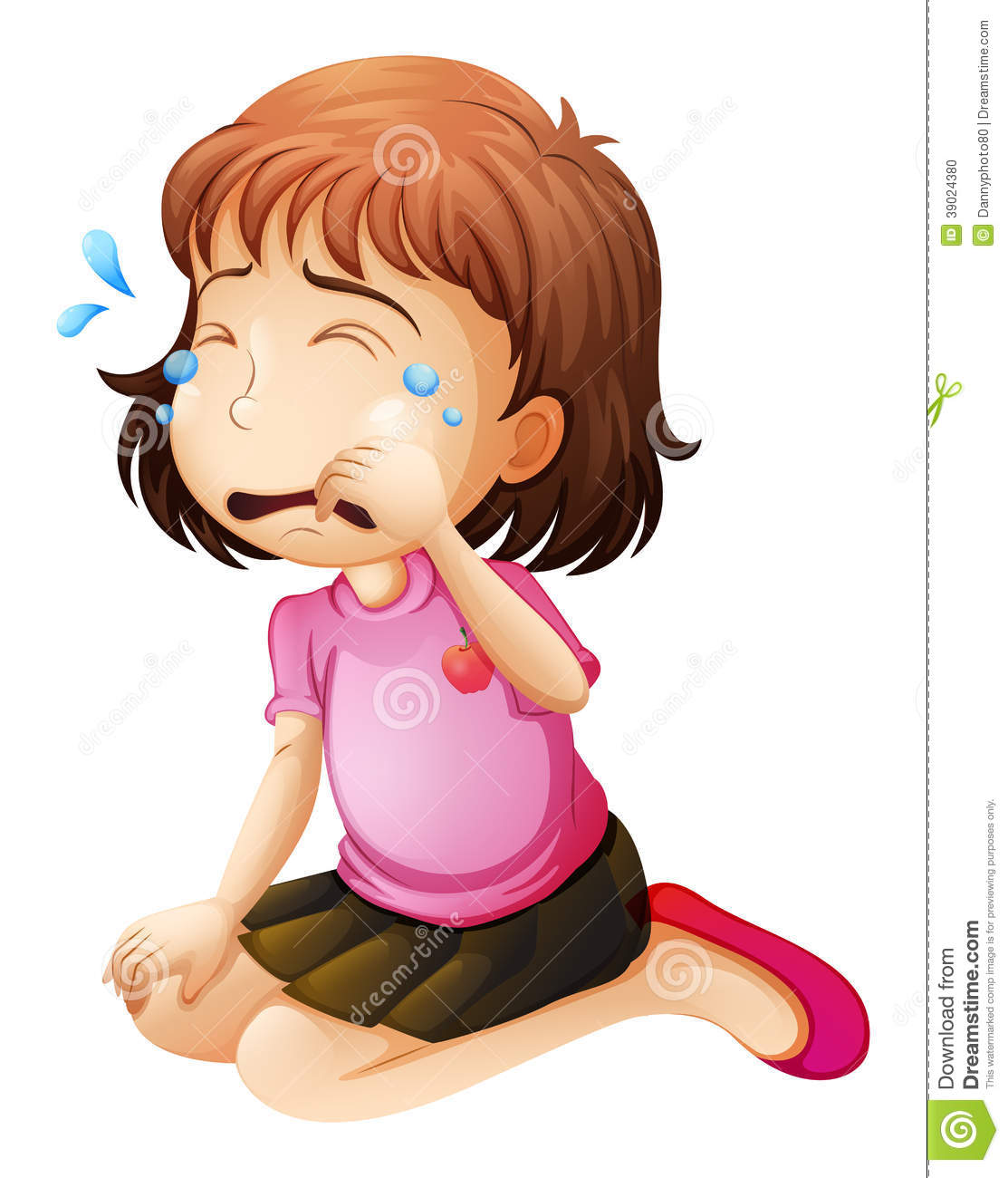 Sad Child Woman Tears Clipart.