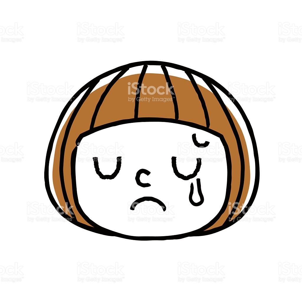 Girl Face Facial Expression Sad Tears stock vector art 629303176.