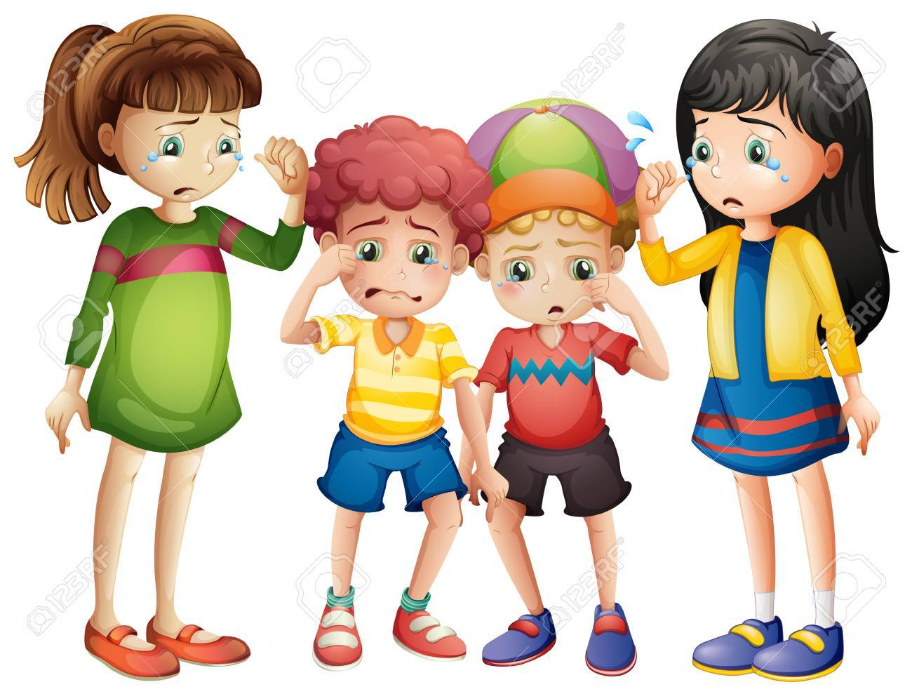 Four sad children crying » Clipart Station.