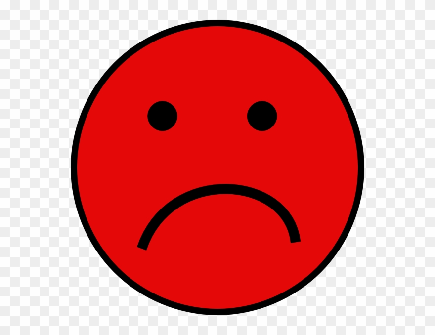 Red Sad Smiley Face Clipart (#109603).