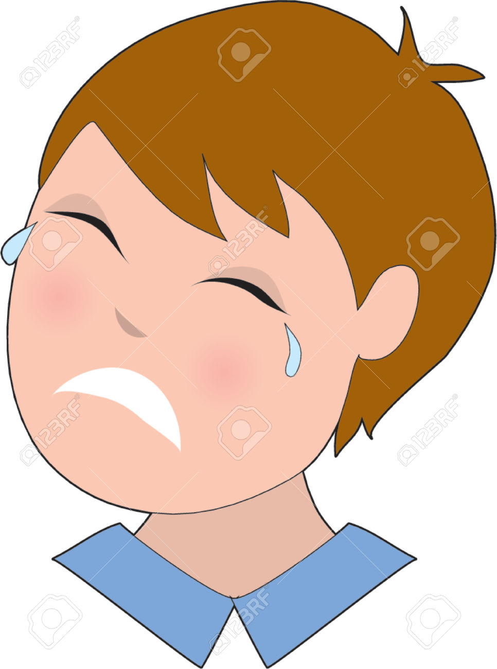 Sad Crying Face Clipart.