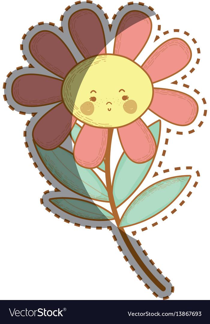 Kawaii sad flower plant with cheeks and mouth.