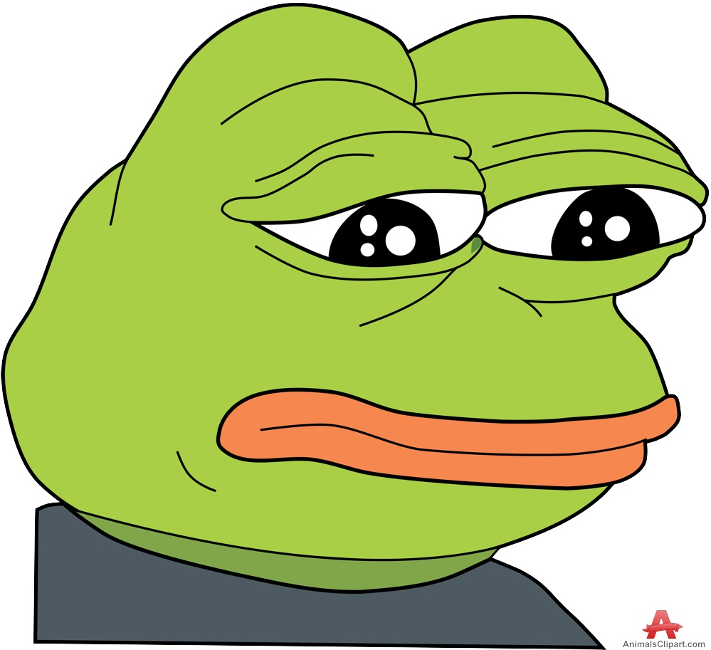 Sad Frog with Head Down Cartoon Clipart.