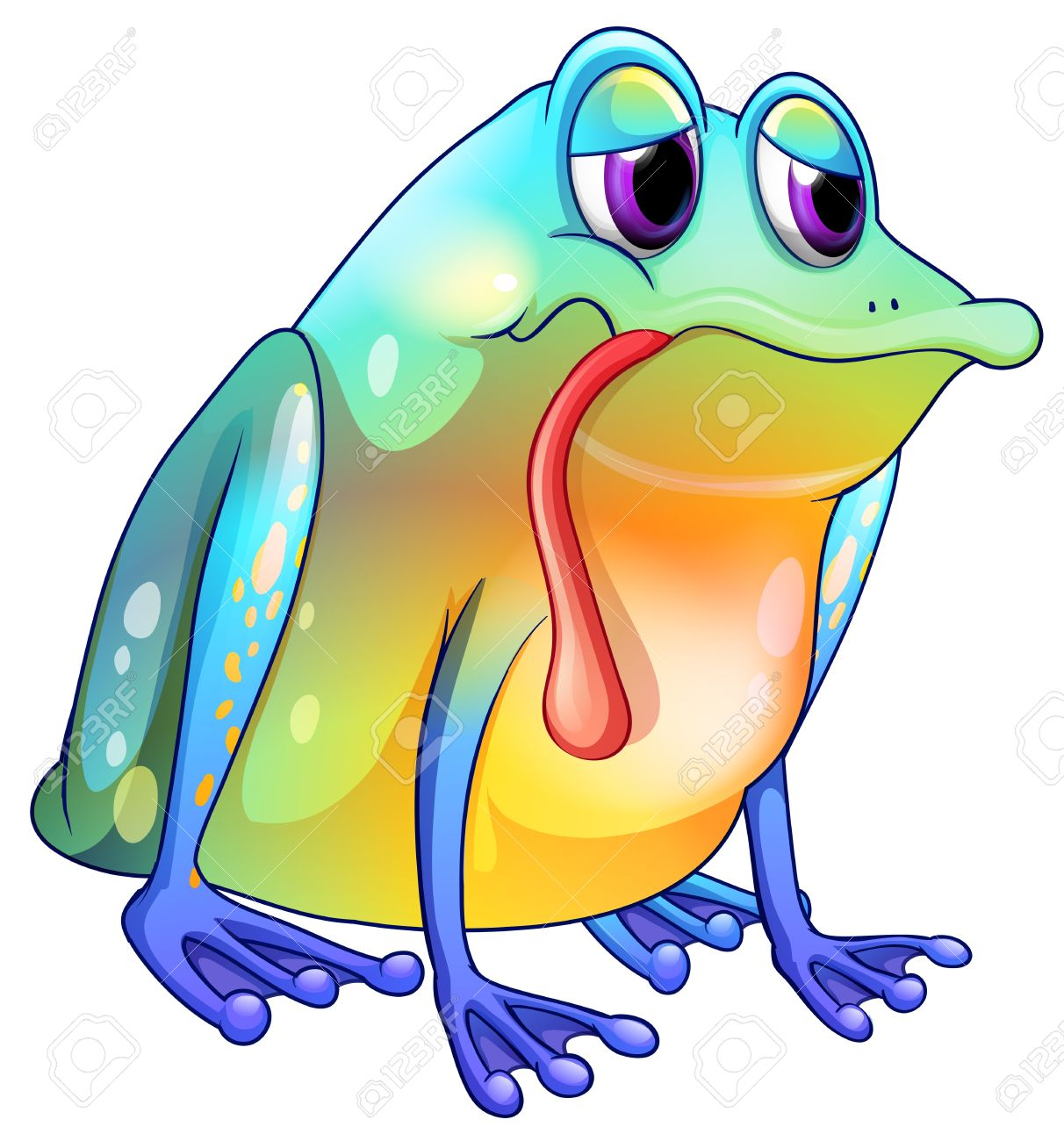 Illustration Of A Colorful Sad Frog On A White Background Royalty.