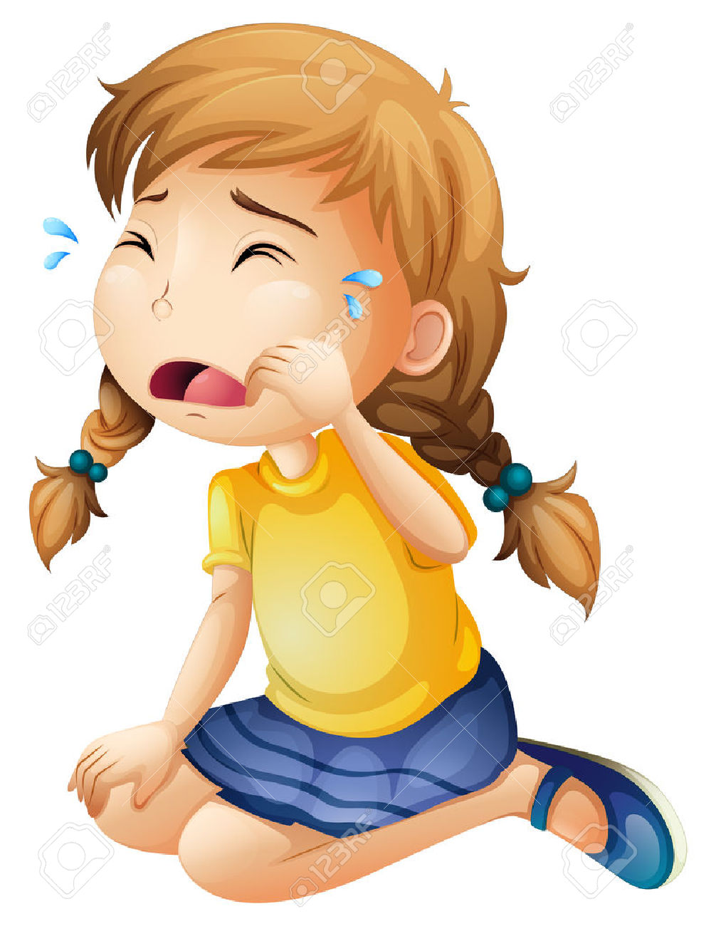 Crying Sad Girl Clipart.