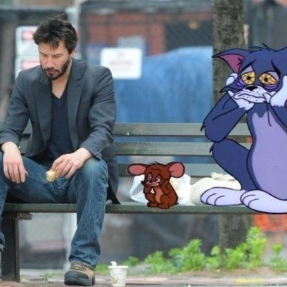 Sad Keanu Reeves Meme Hanging Out With The Miserable Tom & Jerry.