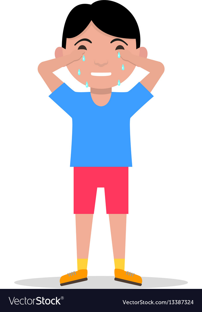 Cartoon sad little boy crying.