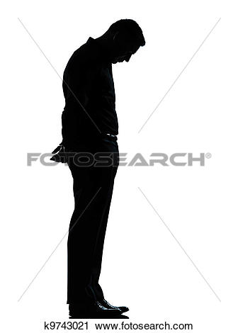 Stock Photography of one business man sad lonely silhouette.