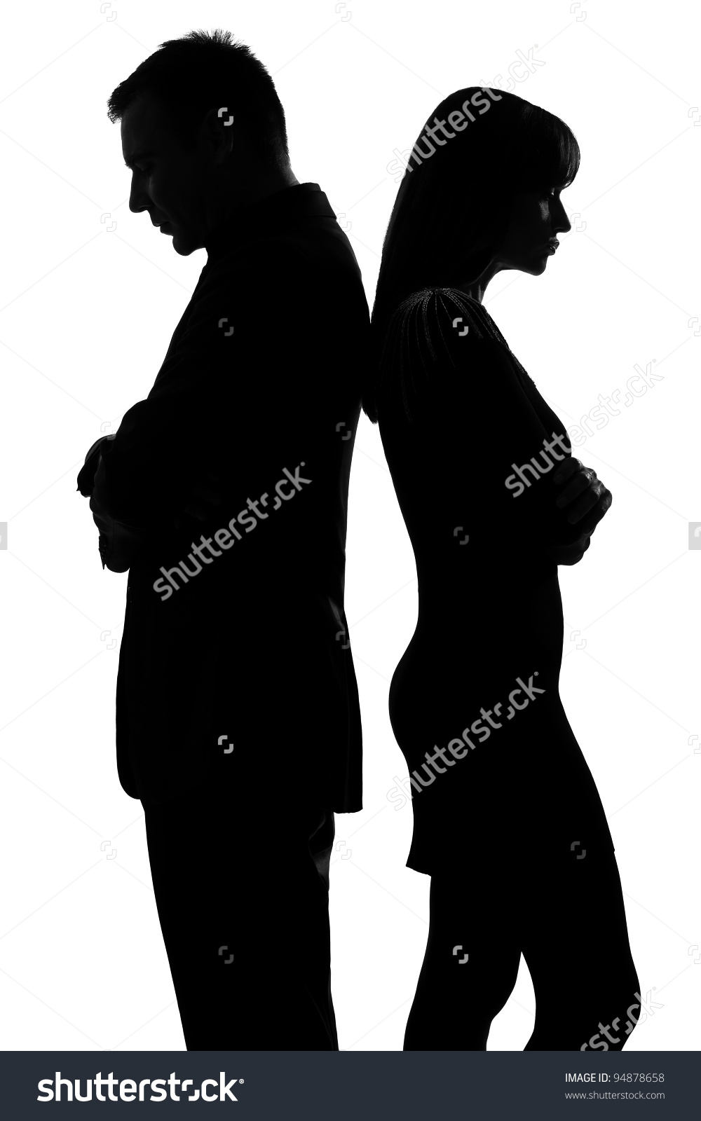 One Caucasian Couple Standing Back Back Stock Photo 94878658.