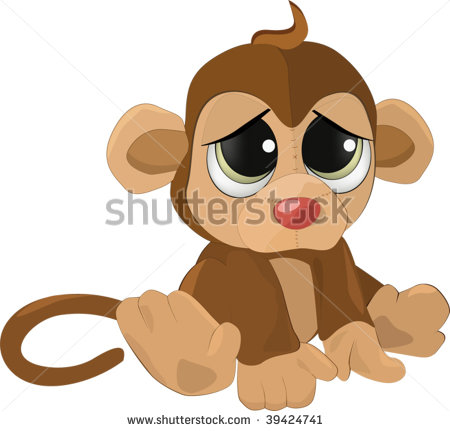 Sad Baby Monkey Clipart.