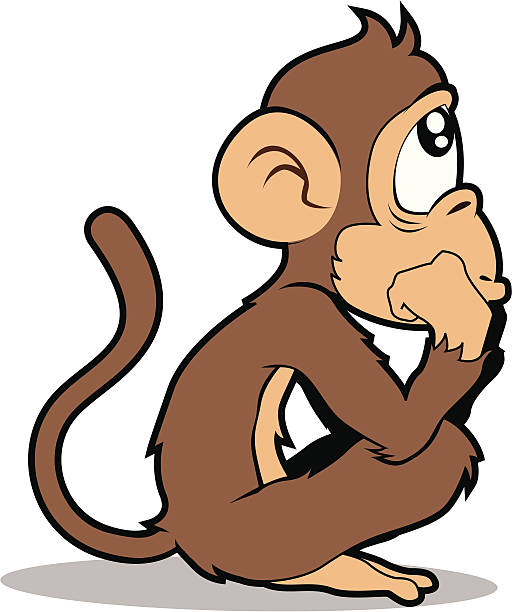 Sad Monkey Clipart on Coloring Page Realistic Zoo Of Animals
